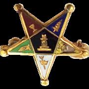 14k Top Enamel Order of the Eastern Star Pin