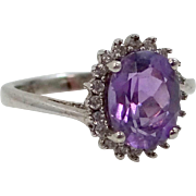 Pretty Sterling Silver Amethyst and CZ's Size 7 1/4 Ring