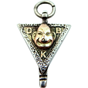 10k White and Yellow Gold BILLIKEN Fraternity Charm Good Luck Amulet