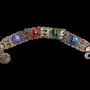 Peruvian Enamel Charm Bracelet Burro & Rider 1930's