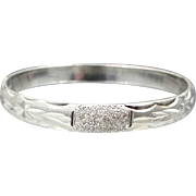 Solid Sterling Silver Finely Etched Hinged Bangle Bracelet