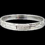 Solid Sterling Silver Finely Etched Hinged Bangle Bracelet