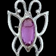 Pretty Sterling Silver Amethyst Glass Body Butterfly Pin