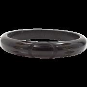 Carved Solid Black Bakelite Bangle Bracelet