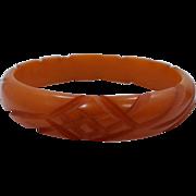 Deeply Carved Butterscotch Bakelite Bangle Bracelet