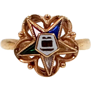 10k Gold Enamel Order of the Eastern Star Lady's Ring