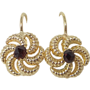 14k Gold Garnet Pinwheel Style Lever Back Earrings