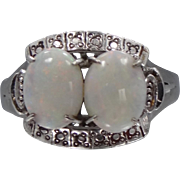 LARGE 10k White Gold and Opals Ladies Size 11 Ring