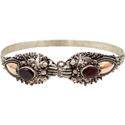 Asian Dragon Heads and Garnets Sterling Silver Bangle Bracelet