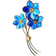 Bernard Meldahl Norway Sterling Vermeil & Blue Guilloche Enamel Brooch
