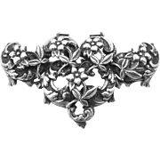 Heavy Solid Sterling Silver Victorian Floral Brooch