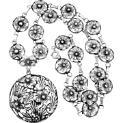 SterlingCraft by Coro Sterling Silver 1940's Floral Necklace