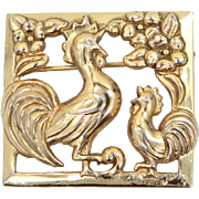 SterlingCraft by Coro Sterling Silver Vermeil 1940's Rooster Pin