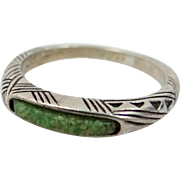Pretty Sterling Silver & Crushed Turquoise Stacking Ring