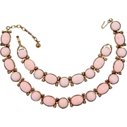 1950's Trifari Pink Melon Ribbed Thermoset Necklace & Matching Bracelet