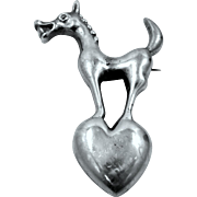 Handmade Solid Sterling Silver Donkey atop a Heart Pin