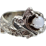 14k White Gold Diamond & White Star Sapphire SERPENT Ring