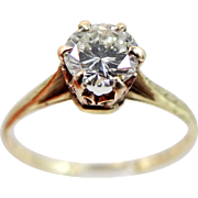 14k - 10k 1930's 0.80 Point Diamond Solitaire Ring with Filigree Setting