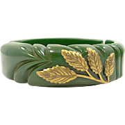 1940's Carved Green Bakelite Hinged Clamper Bangle Bracelet with Metal Trim