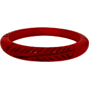Carved Red Bakelite Child's Bangle Bracelet