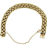 "Wide 7 1/2"" Long Woven Gold Filled Links Retro Era Bracelet"