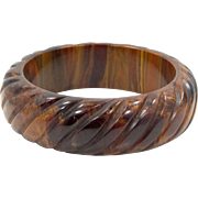 Thick Carved Marbled Bakelite Bangle Bracelet