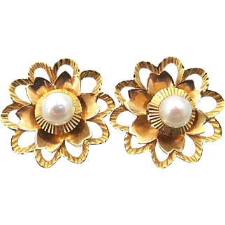 18k Gold Cultured Pearls Earrings with Detachable 18k Gold Jackets