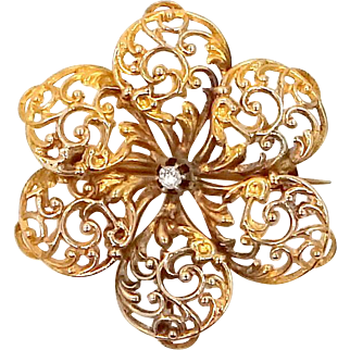 Large 10k Gold Victorian Filigree Diamond Floral Pin