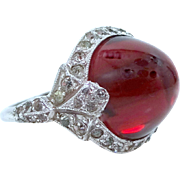 1920's Sterling Silver Art Deco Ruby Glass Lady's Ring with Box