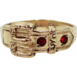 Gorgeous 1920's Buckle Ring Signed Uncas Gold Filled