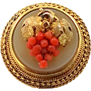 Victorian 14k Gold Coral Grape Motif Pin