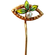 10k Gold Victorian Enamel Seed Pearl Stick Pin