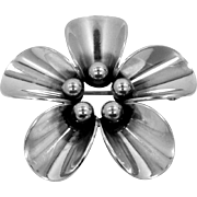 N.E. From Denmark Sterling Silver Beaded Flower Pin