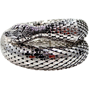 Whiting and Davis Co. Silver Tone Coiled Snake Bracelet Mint Condition