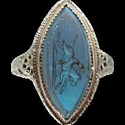 Rare SAPHIRET Reversed Carved Horse and Rider 10k White Gold Filigree Art Deco Ring
