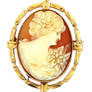Pretty 10k Gold Carved Shell Cameo Pin / Pendant