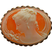14k Gold Carved Shell Cameo Pin with Well Detailed Carving