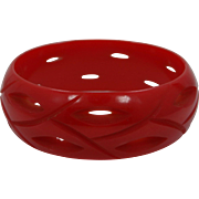 """1"""" Wide Carved AND Pierced Cherry Red Bakelite Bangle Bracelet"""