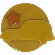 1940's WWII Bakelite Pin with Car & Star