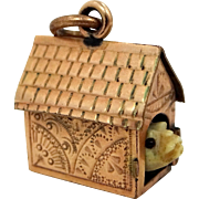 Victorian Well Detailed Dog House Charm with Carved Bone Bulldog Inside