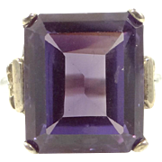 Pretty Color Changing Synthetic  Purple Sapphire Sterling Silver Ring