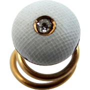 Victorian 14k Gold and Diamond Enamel Button Hole Stud
