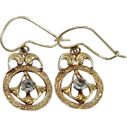 Victorian 10k Gold and Paste Dangle Earrings