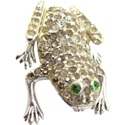 Solid Sterling Silver Figural Frog Rhinestone Pin