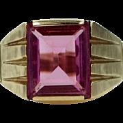 Man's 10k Gold 6 Carat Pink Sapphire Size 10 Ring