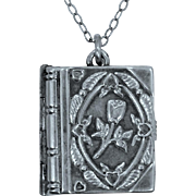 Nice Book Shaped Sterling Silver Floral Locket on Chain