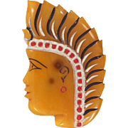 1940's Carved and Hand Painted Indian Chief Bakelite Pin Mottled Applejuice
