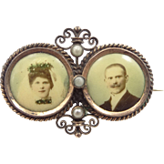 Victorian Double Photo Pin Bride and Groom with Seed Pearls