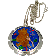 Sterling Silver Winnie the Pooh & Piglet Inlaid Pendant and Chain