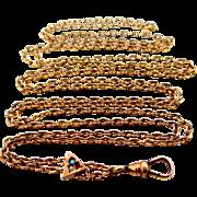 Victorian Gold Fld. Gemstones Watch Slide Chain
